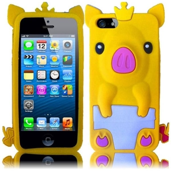 INSTEN Yellow Pig 3D Rubber Soft Silicone Soft Skin Gel Phone Case Cover for Apple iPhone 5/ 5S