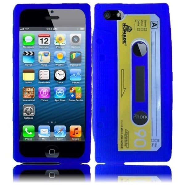 INSTEN Blue Cassette 3D Rubber Soft Silicone Soft Skin Gel Phone Case Cover for Apple iPhone 5/ 5S