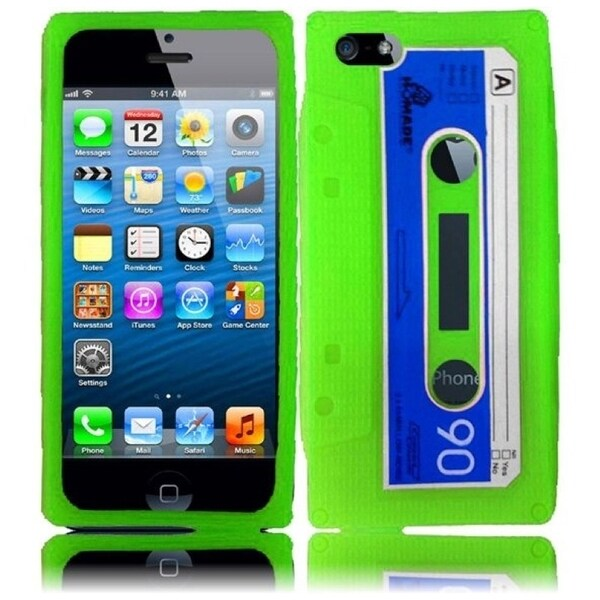 INSTEN Green Cassette 3D Rubber Soft Silicone Soft Skin Gel Phone Case Cover for Apple iPhone 5/ 5S