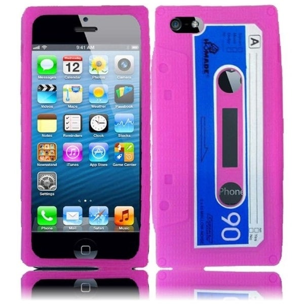 INSTEN Pink Cassette 3D Rubber Soft Silicone Soft Skin Gel Phone Case Cover for Apple iPhone 5/ 5S