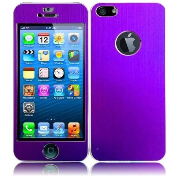INSTEN Plain Purple Metal Sticker Phone Phone Case Cover Protector for Apple iPhone 5/ 5S