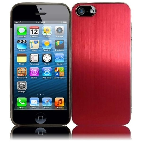 INSTEN Red Brushed Metallic Aluminum Phone Case Cover for Apple iPhone 5/ 5S