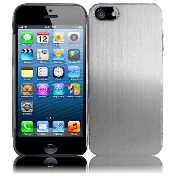 INSTEN Silver Brushed Metallic Aluminum Phone Case Cover for Apple iPhone 5 / 5S / SE