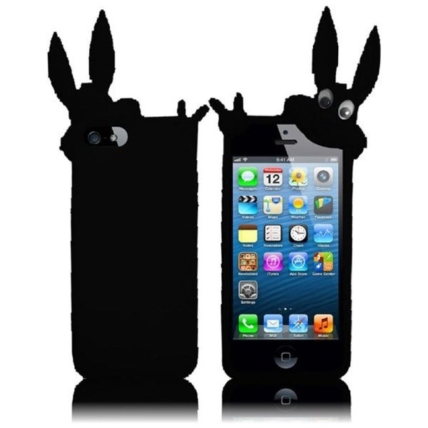 INSTEN Black Rabbit 3D Rubber Soft Silicone Soft Skin Gel Phone Case Cover for Apple iPhone 5/ 5S