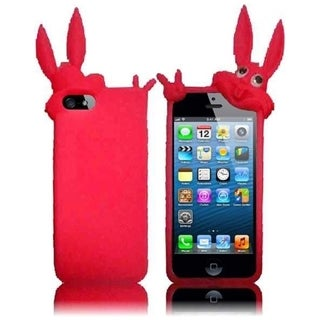 BasAcc Pink Rabbit 3D Rubber Silicone Soft Skin Gel Phone Case Cover for Apple iPhone 5/ 5S