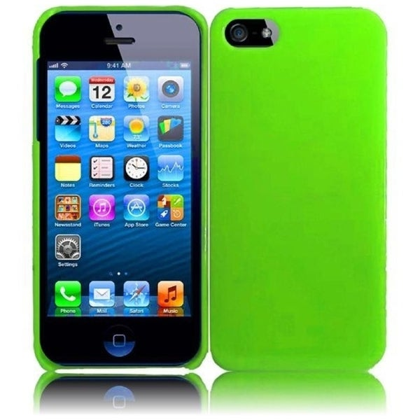 INSTEN Neon Green Hard Plastic PC Glossy Snap-on Phone Case Cover for Apple iPhone 5 / 5S / SE