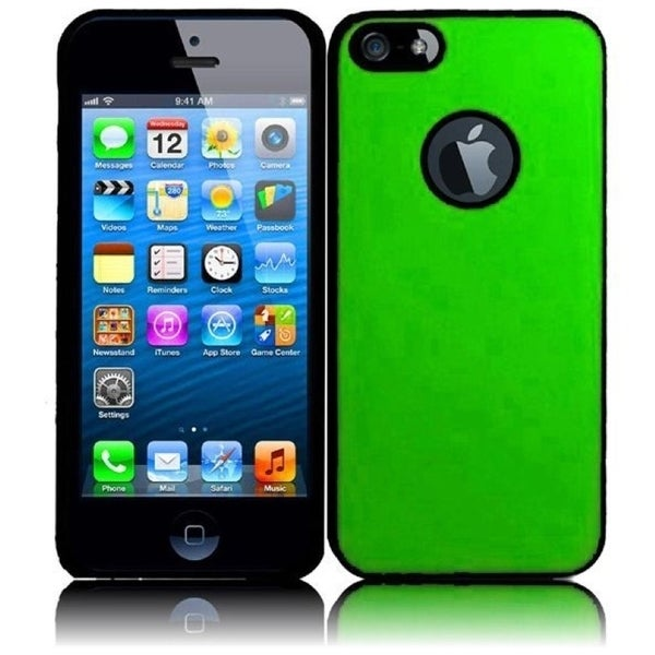 INSTEN Green/ Black Rubberized Hard Plastic Snap-on Phone Case Cover for Apple iPhone 5/ 5S