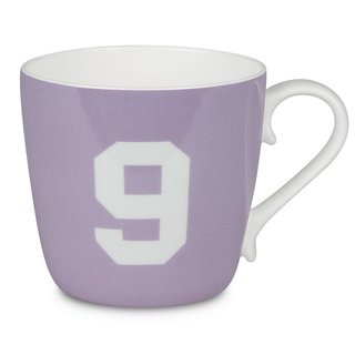 Konitz 'Number 9' Design Collectible Bone China Lilac Purple Mug