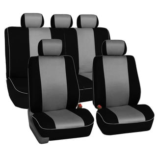 FH Group Grey 3D Air-mesh with Edge Piping Car Seat Covers (Full Set)