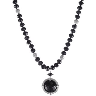 Jet Glass and Crystal Pendant Necklace