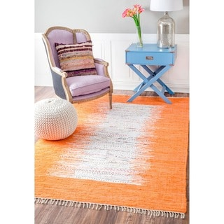 nuLOOM Handmade Abstract Border Flatweave Cotton Rug (4' x 6')