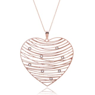 Tressa Collection Rose Gold Cubic Zirconia Heart Necklace