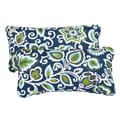 Floral Navy Corded 12 x 24 Inch Indoor/ Outdoor Lumbar Pillows (Set of 2)