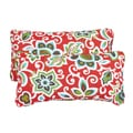 Floral Red Corded 12 x 24 Inch Indoor/ Outdoor Lumbar Pillows (Set of 2)