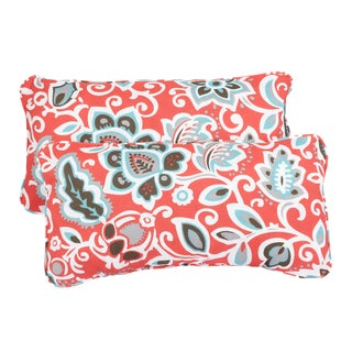 Floral Coral Corded 12 x 24 Inch Indoor/ Outdoor Lumbar Pillows (Set of 2)