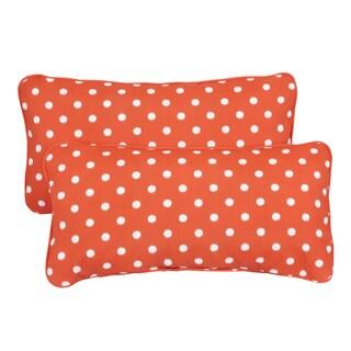 Orange Dots Corded 12 x 24 Inch Indoor/ Outdoor Lumbar Pillows (Set of 2)