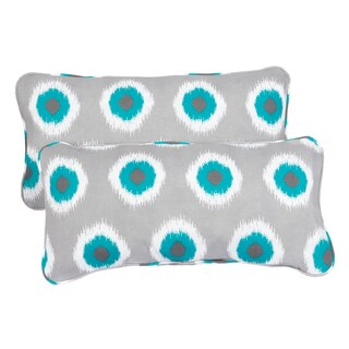 Ikat Teal Dots Corded 12 x 24 Inch Indoor/ Outdoor Lumbar Pillows (Set of 2)