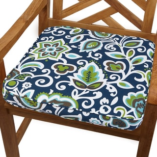 Navy Floral 19-inch Indoor/ Outdoor Corded Chair Cushion