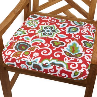 Red Floral 19-inch Indoor/ Outdoor Corded Chair Cushion