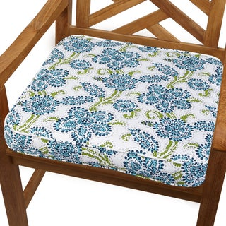 Aqua Floral 19-inch Indoor/ Outdoor Corded Chair Cushion