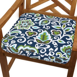 Navy Floral 20-inch Indoor/ Outdoor Corded Chair Cushion