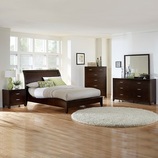 Tribecca Home Lancashire 5 Piece Cherry Curved Sleigh King Queen Bedroom Set Overstock