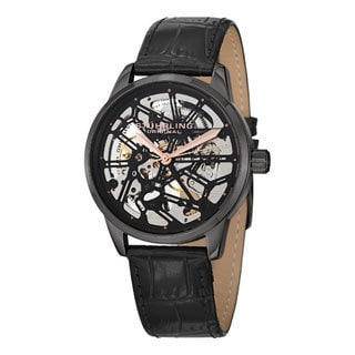Stuhrling Original Men's Star Chart Mechanical Strap Watch with Black Dial
