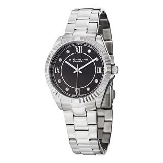 Stuhrling Original Women's Lady Nautic Silver/Black Swiss Quartz Bracelet Watch