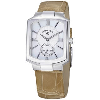 Philip Stein Women's 21-CMOP-ASS 'Signature' Mother of Pearl Dial Tan Strap Watch