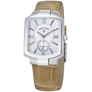 Philip Stein Women's 'Signature' Mother of Pearl Dial Tan Strap Watch