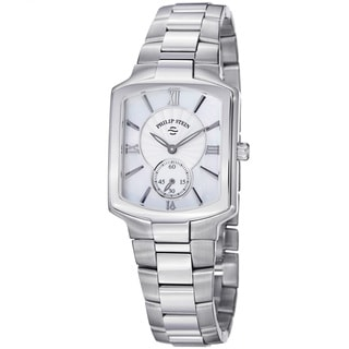Philip Stein Women's 'Signature' Mother of Pearl Dial Steel Watch