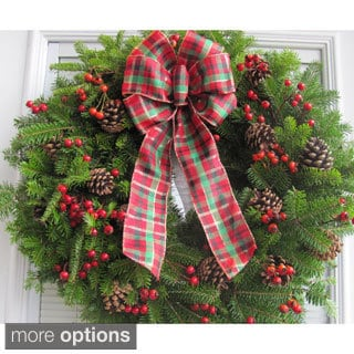 24-inch Fresh Maine Balsam Wreath Rosehip with Tartan Plaid Bow