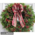 24-inch Fresh Maine Balsam Wreath Rosehip with Tartan Plaid Bow