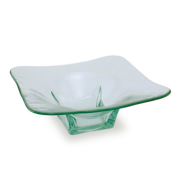 Square Clear Green Glass Serving Bowls (Set of 2)