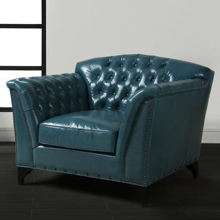 Peacock Top Grain Leather Club Chair