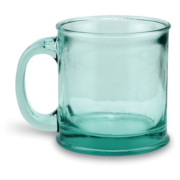 Recycled Handmade Clear Green Glass Mugs (Set of 4)