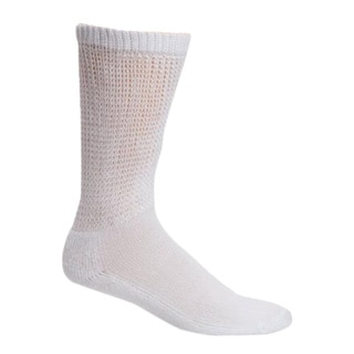 Men's Comfortable White Long Diabetic Crew Socks (Pack of 3)