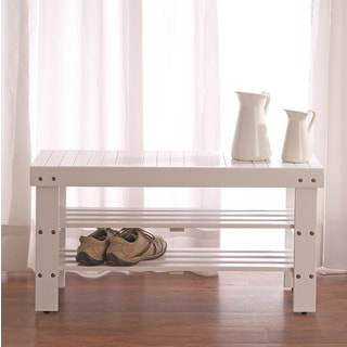 White Solid Wood Storage Shoe Bench and Shelf