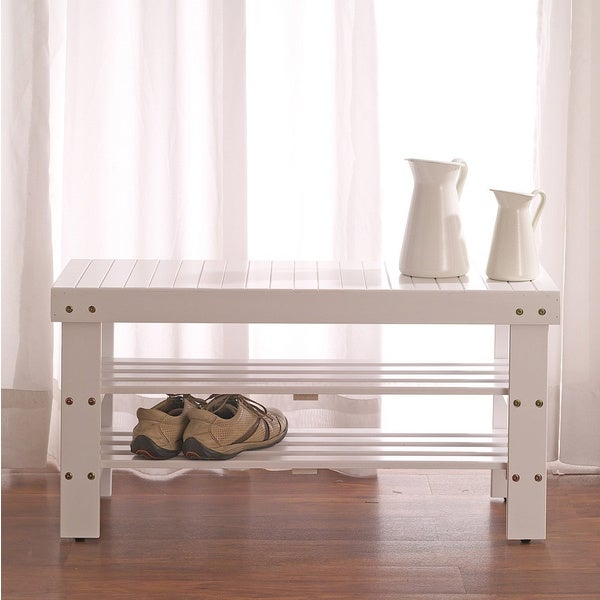 Nantucket Storage Bench Cottage Style Solid Wood 15: White Solid Wood Storage Shoe Bench And Shelf