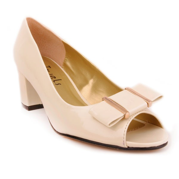 Jade Women's Beige Open-toe Low Heel Pumps