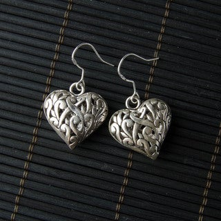 Silver Lattice Heart Shaped Earrings (China)
