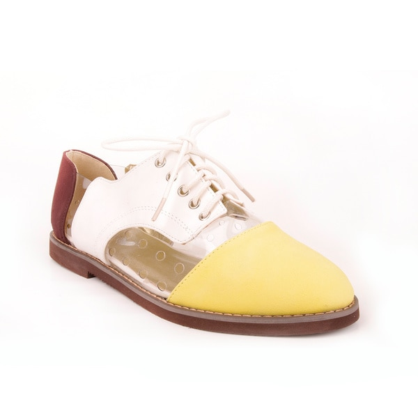 Makers Girls 'Oxford 3' Yellow/ Brown Lace-up Casual Shoes