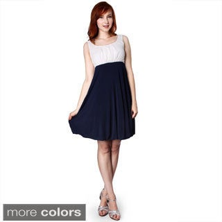Evanese Women's Two-tone Rouched Bubble Skirt Dress