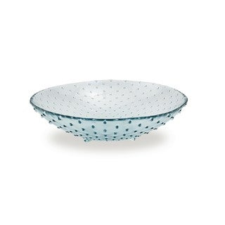 Medium 12-inch Glass Footed Bowls (Set of 2)