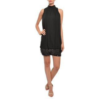 Mark & James Women's Black Feather Sequined Silk Cocktail Party Evening Dress