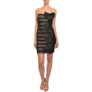 Mark & James Women's Black and Nude Strapless Cascading Ruffles Dress