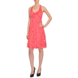 Badgley Mischka Women's Coral Pink Sequins Evening Dress