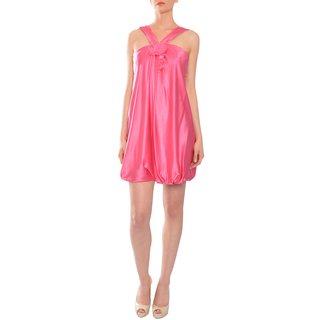 BCBG Maxazria Women's Pink Silk Bubble Hem Dress