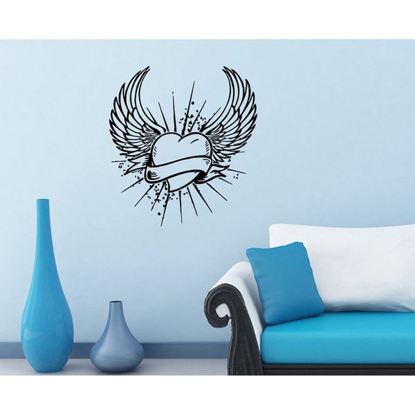 Flaming Heart with Wings Vinyl Wall Decal