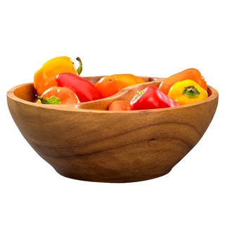 Handcrafted Acacia Wood Divided Bowl (Kenya)